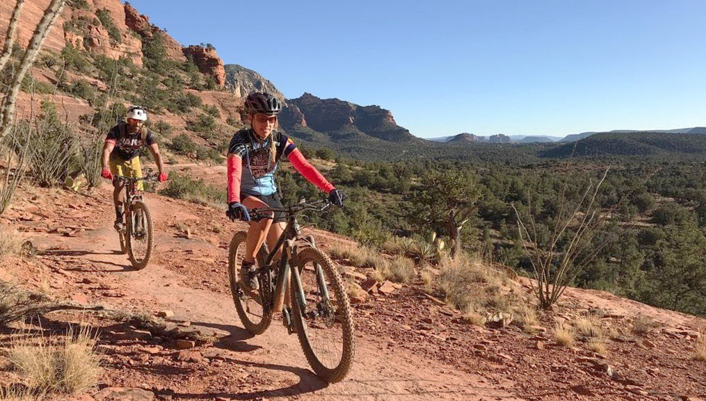 Julie and Reet Sedona Mountain Biking