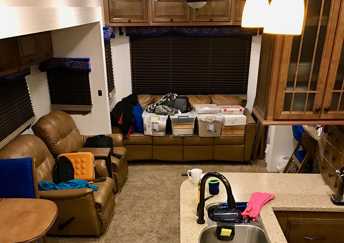 RV workspace before remodel