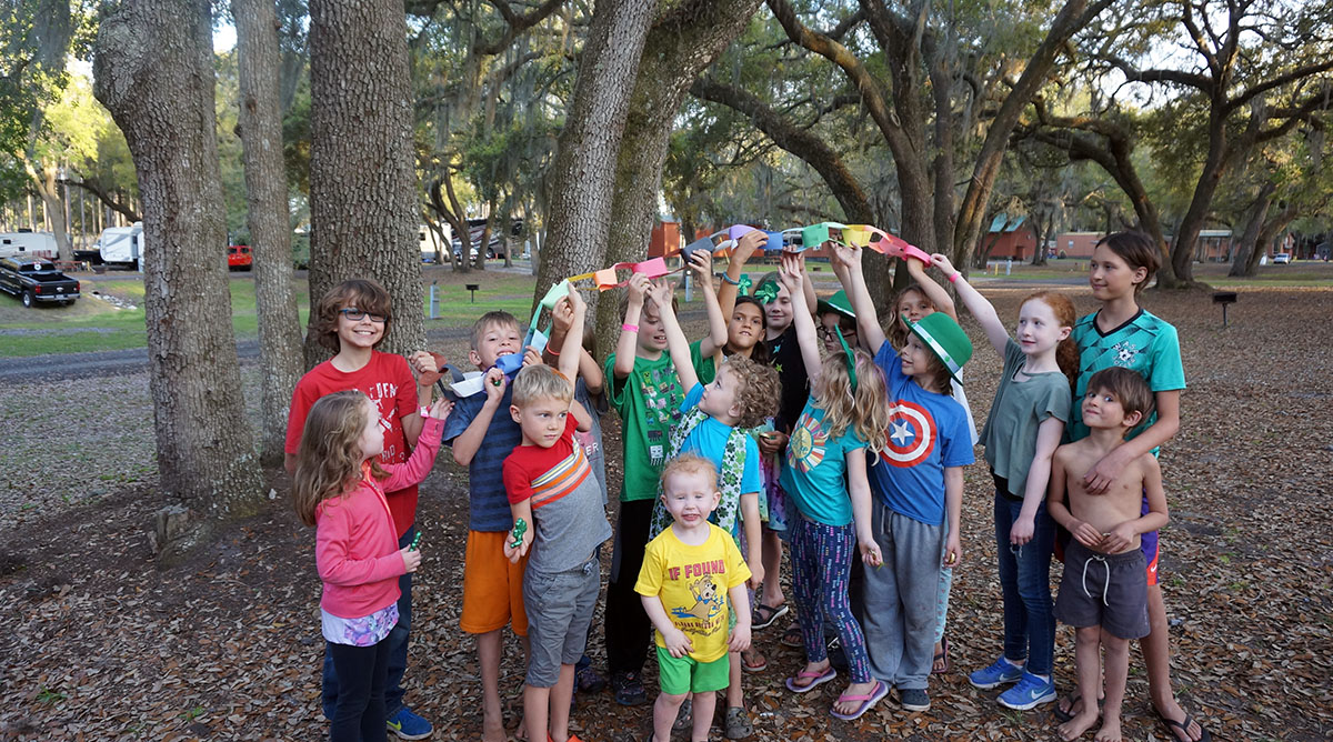 Roadschool socialization at Thousand Trails park in Florida