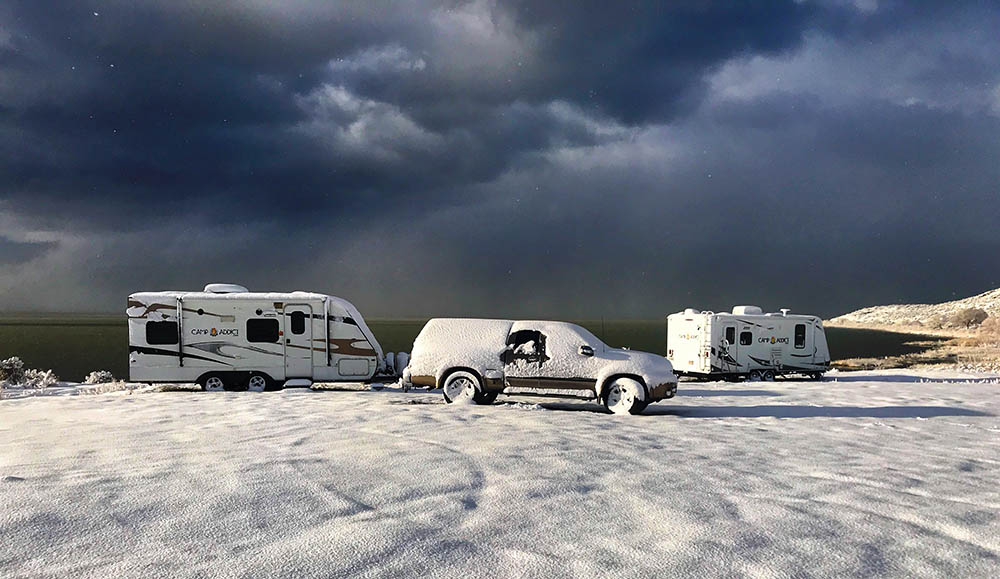 Salt Lake City boondocking in the snow