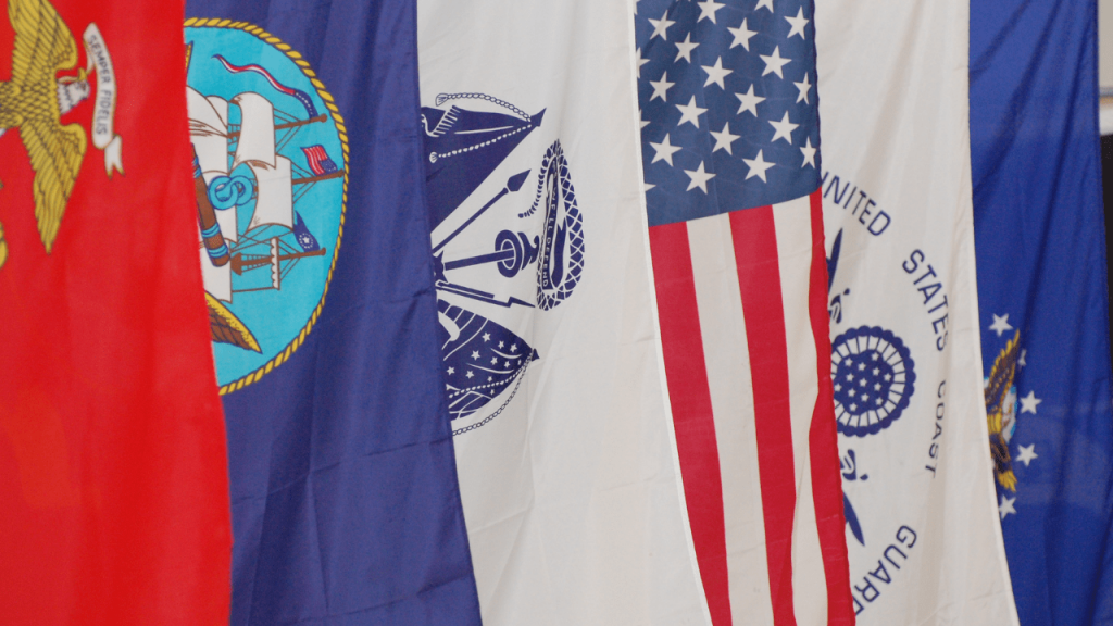 flags representing each branch of the U.S. military