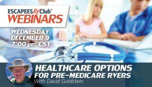 Header for webinar Healthcare Options for Pre-Medicare RVers