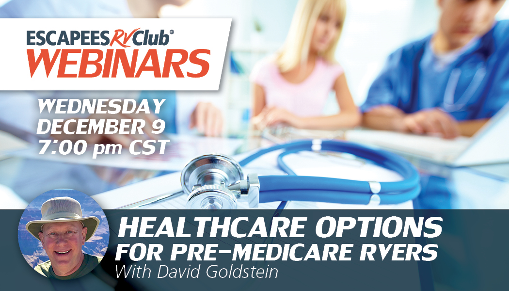 Header for webinar Healthcare Options for Pre-Medicare RVers