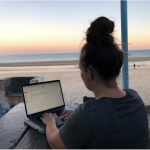 virtual assistant working from the beach