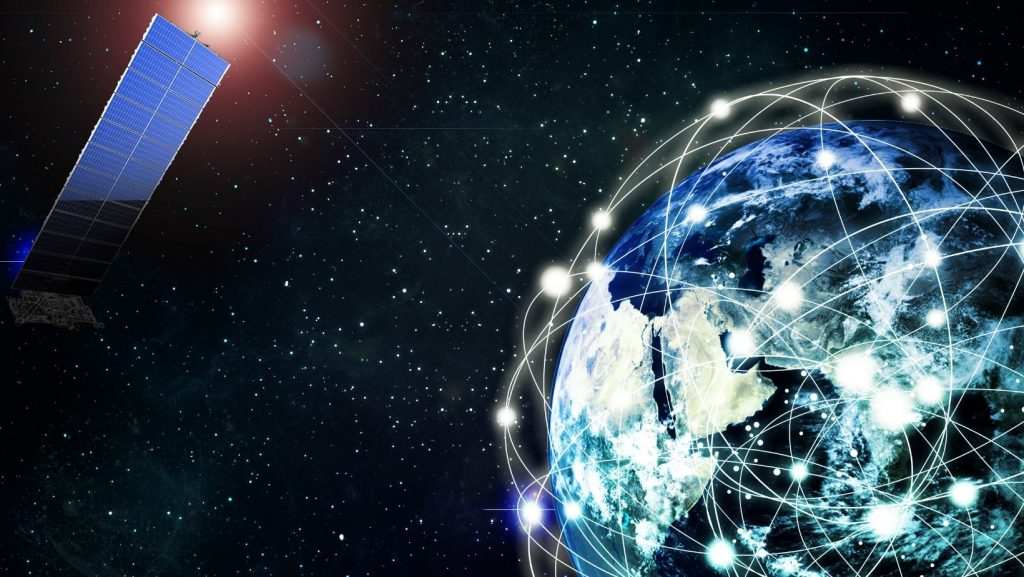 Graphic depicting Earth wrapped in a digital net, with a satellite in orbit