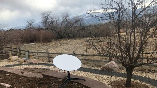 Satellite internet dish in field