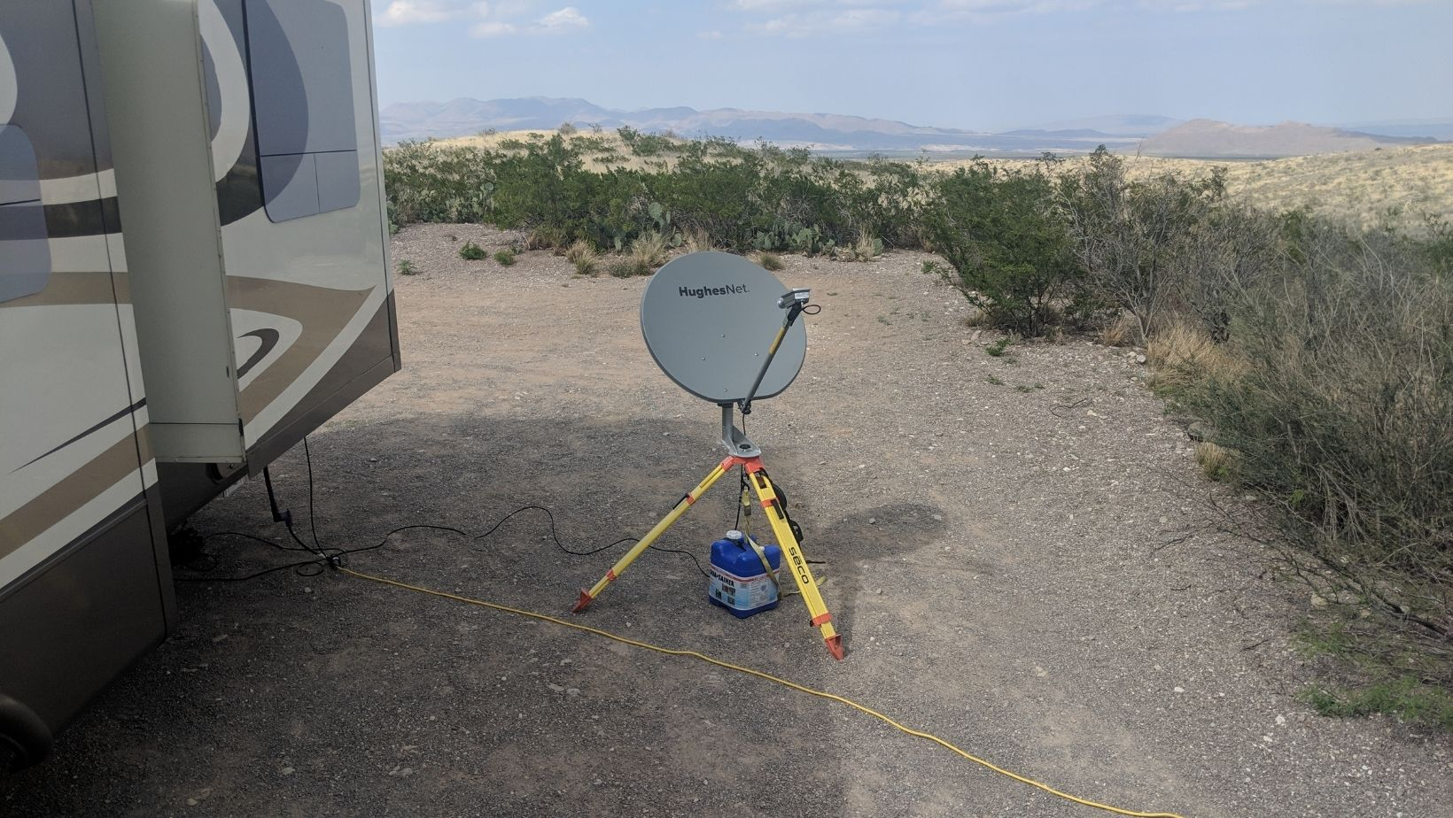 Satellite internet dish, handy for beginner RVer