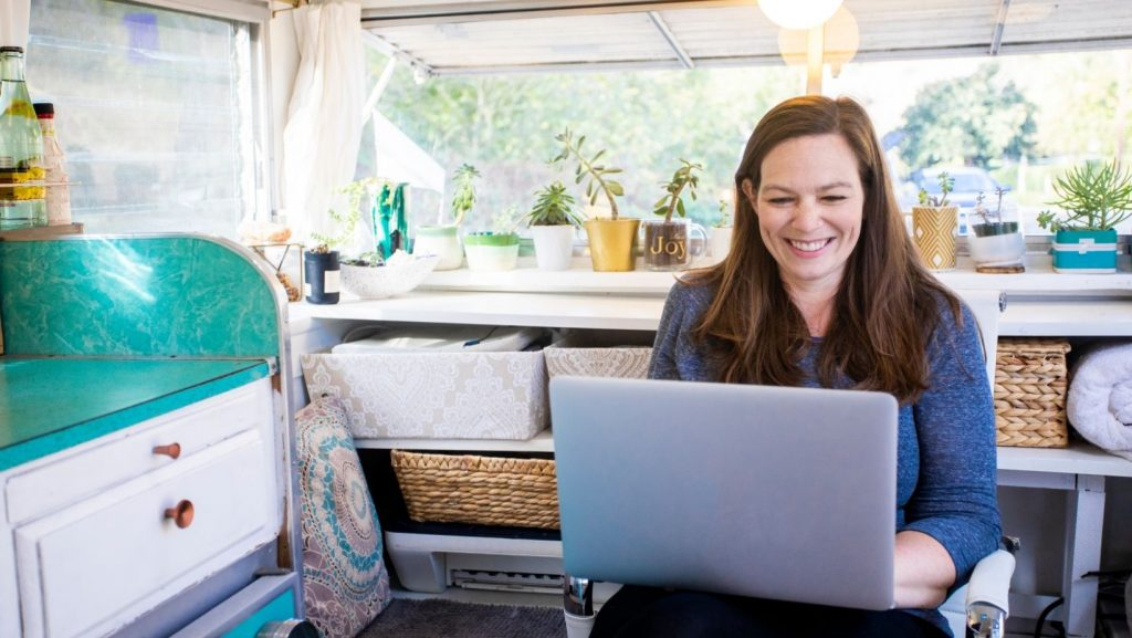 Woman working from home in RV